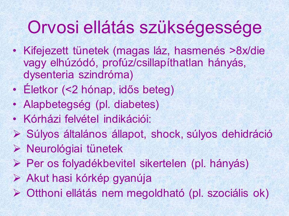 Orvosi ellátás szükségessége Kifejezett tünetek (magas láz, hasmenés >8x/die vagy elhúzódó, profúz/csillapíthatlan hányás, dysenteria szindróma) Életkor (<2 hónap, idős beteg) Alapbetegség (pl.