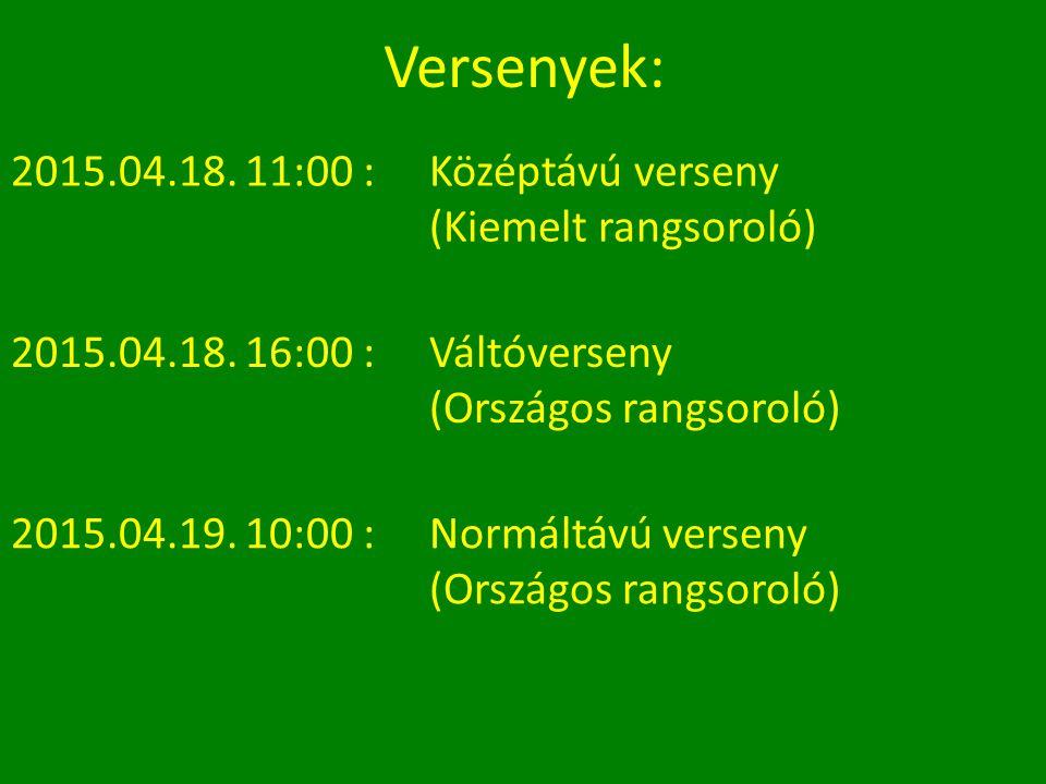 Versenyek: 2015.04.18. 11:00 : Középtávú verseny (Kiemelt rangsoroló) 2015.04.18.