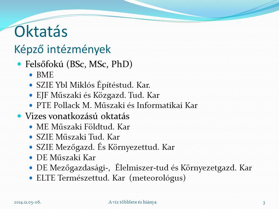 """Oktatás Képző intézmények Középfokú Vízügyi technikumok Felnőttképzés Szakmérnöki képzés OKJ (vízkárelhárító, gátőr, csatornaőr, mederőr, tározóőr, gépkezelők, stb.) Közfoglalkoztatottak képzése (időkeret!) """"Életen át történő tanulás MMK továbbképzés (5 éves ciklus) 2014.11.05-06.A víz többlete és hiánya4"""