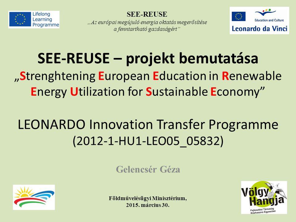 """Előzmények Civil összefogás egy LHH térségben – 2004 Völgy Hangja Egyesület Misszió: fenntartható társadalmi, gazdasági és környezeti rendszerek kialakítása Első feladat: DIAGNÓZIS SEE-REUSE """" Az európai megújuló energia oktatás megerősítése a fenntartható gazdaságért"""