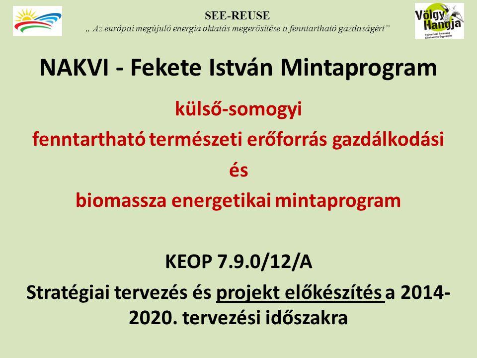 NAKVI - Fekete István Mintaprogram külső-somogyi fenntartható természeti erőforrás gazdálkodási és biomassza energetikai mintaprogram KEOP 7.9.0/12/A Stratégiai tervezés és projekt előkészítés a 2014- 2020.