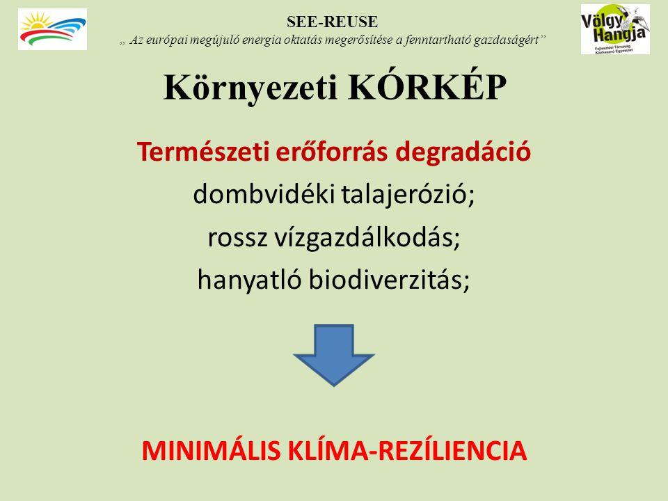 """Környezeti KÓRKÉP Természeti erőforrás degradáció dombvidéki talajerózió; rossz vízgazdálkodás; hanyatló biodiverzitás; MINIMÁLIS KLÍMA-REZÍLIENCIA SEE-REUSE """" Az európai megújuló energia oktatás megerősítése a fenntartható gazdaságért"""