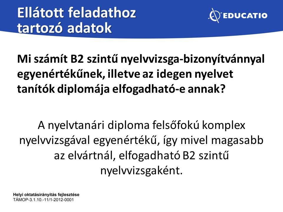 Ellátott feladathoz tartozó adatok Mi számít B2 szintű nyelvvizsga-bizonyítvánnyal egyenértékűnek, illetve az idegen nyelvet tanítók diplomája elfogad