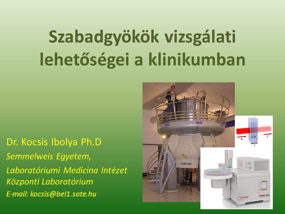 Related profiles: Coenzyme Q10 NutrEval® FMV ONE (Optimal Nutritional Evaluation) FMV™ Oxidative Stress Analysis 2.0 (Blood) https://www.gdx.net/product/nutreval-fm- nutritional-test-blood-urine Oxidatív stressz mértékének vizsgálata A szabadgyökök hatására bekövetkezett oxidatív károsodás mértéke – Lipiperoxidációs termékek – DNS-károsodás következtében felszaporodó vegyületek (vizeletben): 8-hydroxy-deoxy-Guanosine Antioxidáns védelem, kapacitás vizsgálata – Teljes vér Glutathion tartalma – Szabadgyökök eliminálását végző enzimek : szuperoxid dizmutáz, glutathion peroxidáz