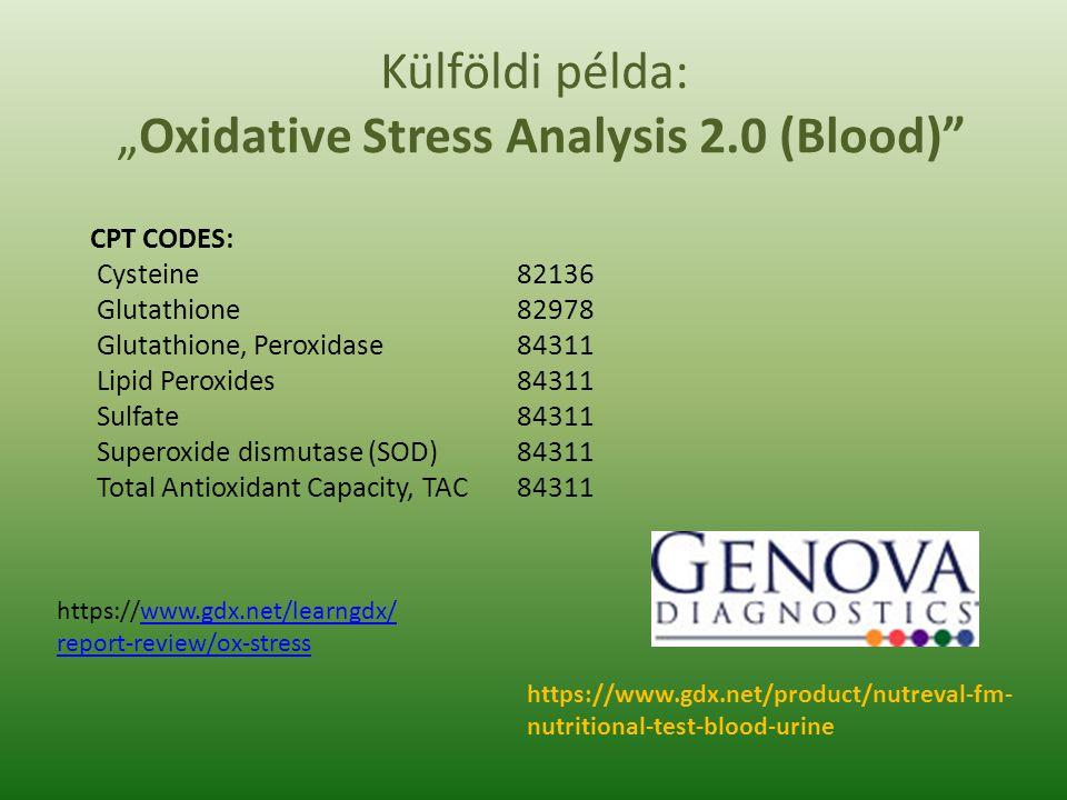 "Külföldi példa: ""Oxidative Stress Analysis 2.0 (Blood)"" CPT CODES: Cysteine82136 Glutathione82978 Glutathione, Peroxidase84311 Lipid Peroxides84311 Su"