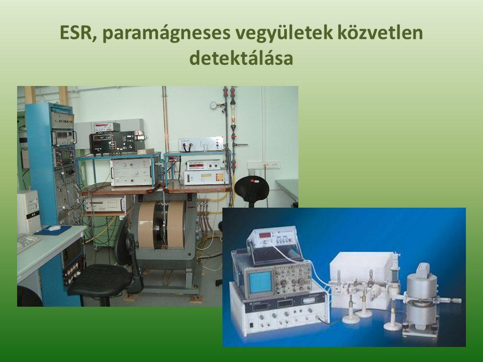 Szabadgyökök ESR spektrumai Az elektronspin rezonancia - ESR (más elterjedt elnevezéssel elektron paramágneses rezonancia - EPR) egy olyan spektroszkópiai módszer, amellyel az elektronok energia-szintjeinek mágneses mezőben való felhasadása vizsgálható.