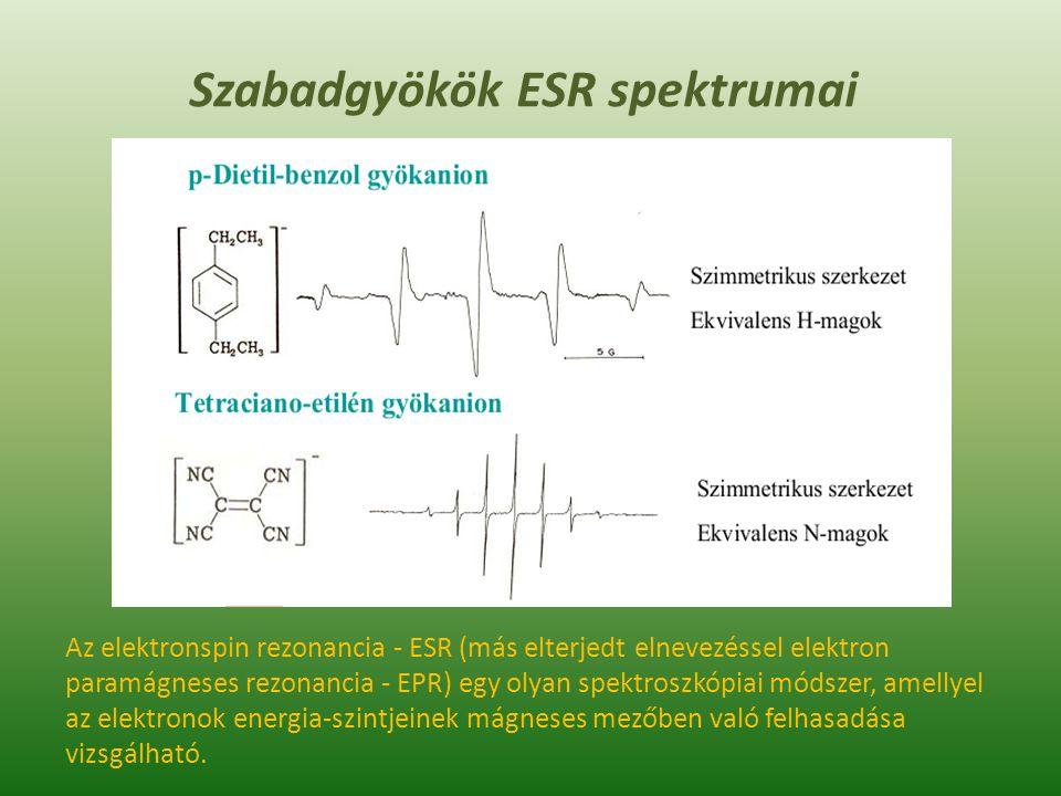 Az EPR/ESR technikák a ROS vegyületek vizsgálatában Elektron paramágneses rezonancia spektroszkópia