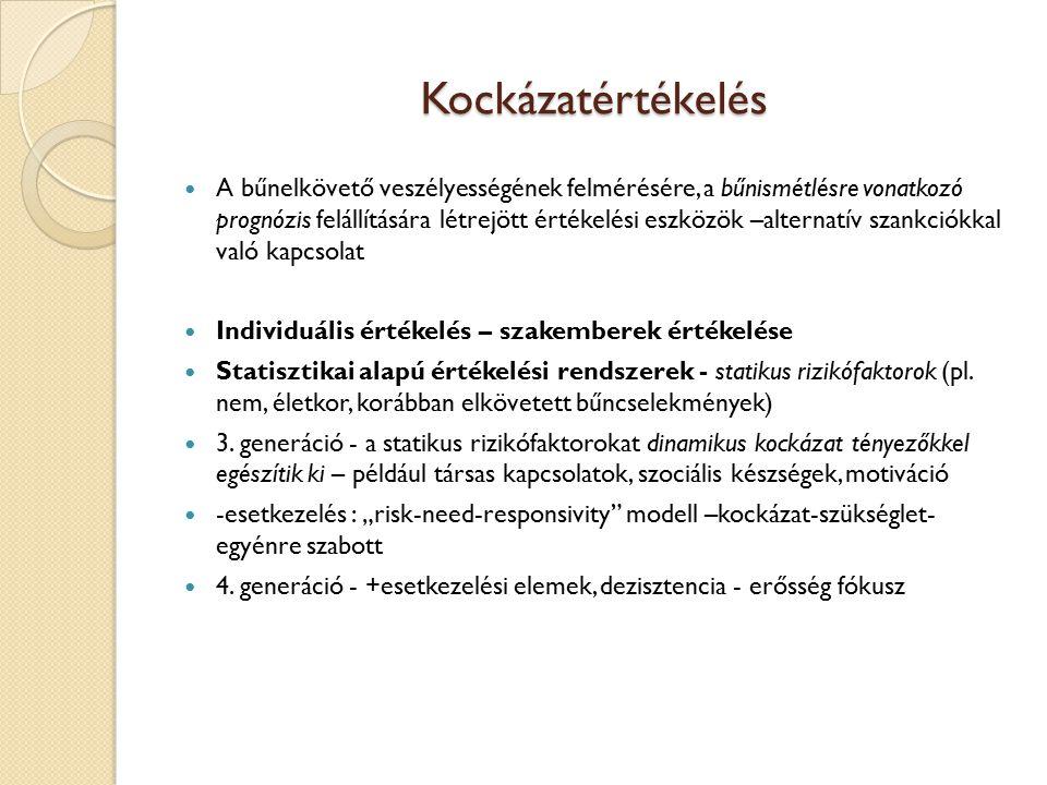Kockázatértékelés Felelősség megállapítása előtt Statikus+dinamikus tényezők Statikus: korábbi normaszegések (iskolai, szabálysértés, bűncselekmény) Dinamikus: 11 témakör lakókörnyezet; lakhatási körülmények; családi kapcsolatok; oktatás, képzés, munkavégzés; kortárs kapcsolatok, szabadidő-eltöltés; szenvedélybetegség; fizikai, mentális és érzelmi egészség; önmaga és mások észlelése; gondolkodás és viselkedés; a bűncselekményhez/szabálysértéshez való viszonyulása; a változás iránti motiváció Alacsony, közepes, magas
