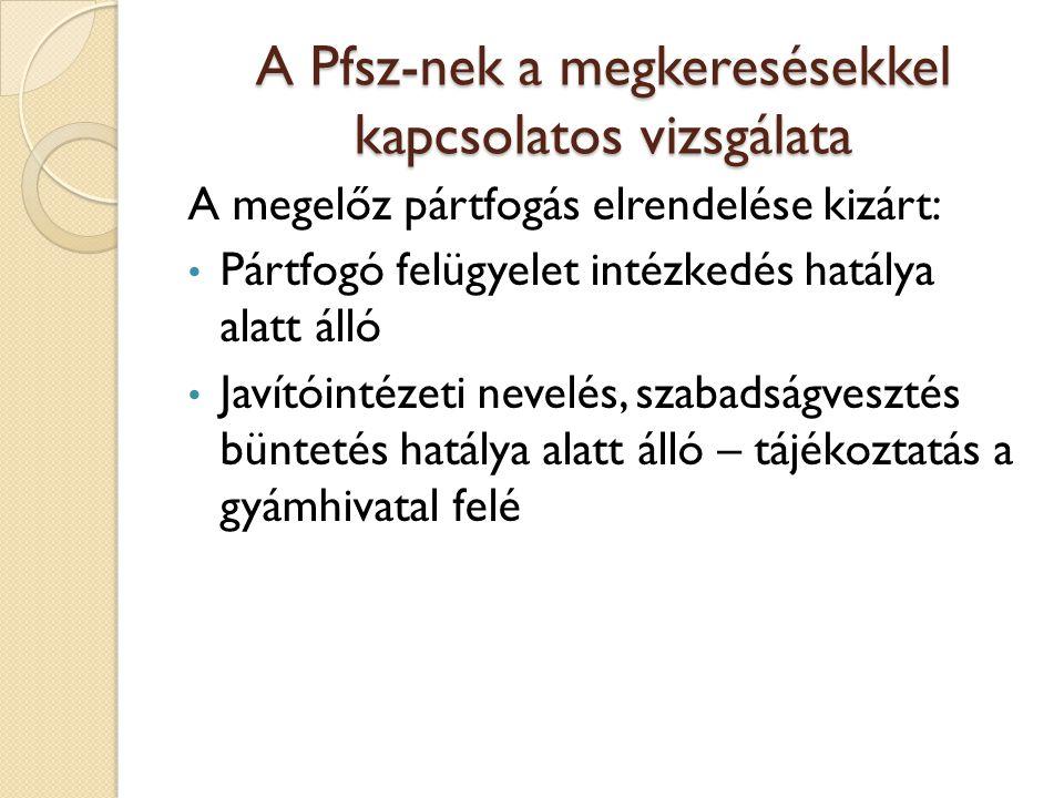 A Pfsz-nek a megkeresésekkel kapcsolatos vizsgálata A megelőz pártfogás elrendelése kizárt: Pártfogó felügyelet intézkedés hatálya alatt álló Javítóin