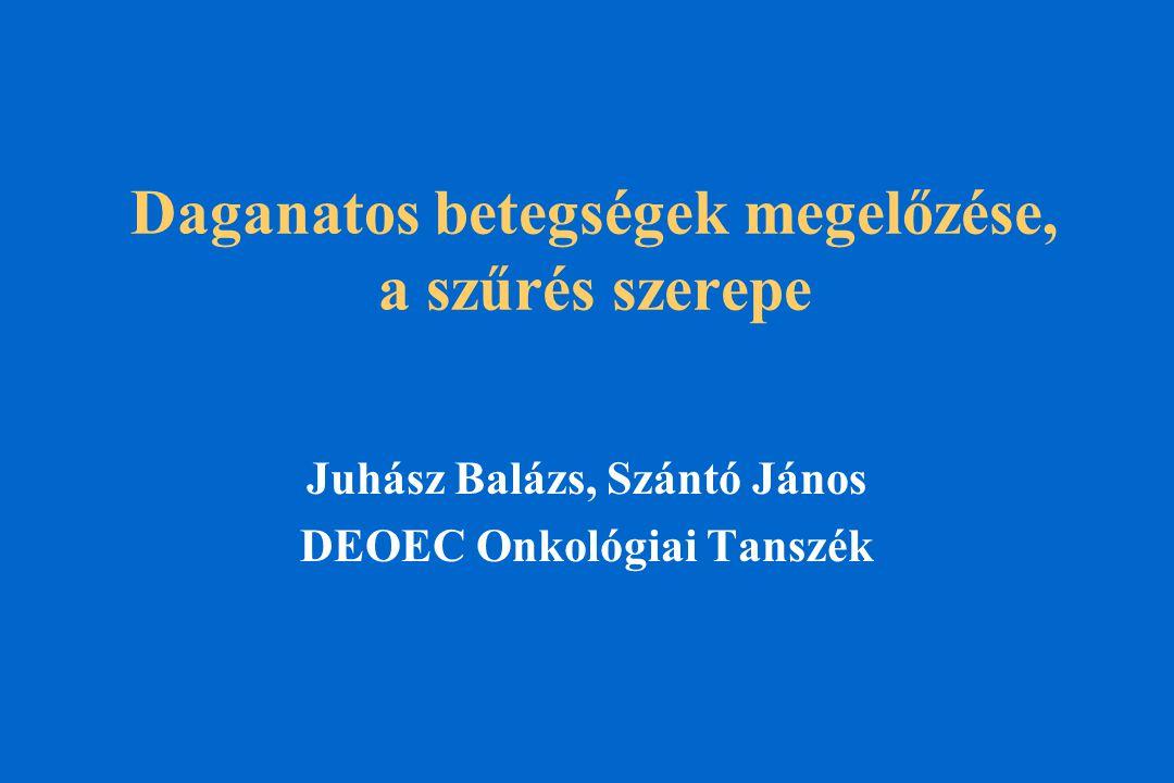 Daganatos betegségek megelőzése, a szűrés szerepe Juhász Balázs, Szántó János DEOEC Onkológiai Tanszék