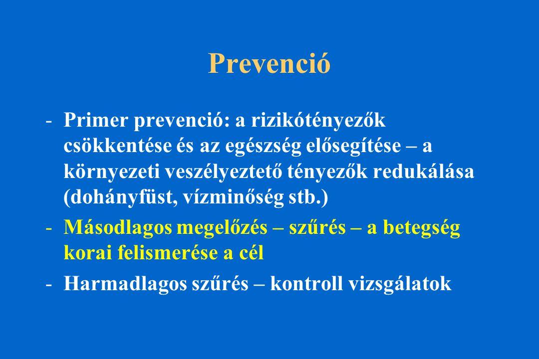 Prevenció -Primer prevenció: a rizikótényezők csökkentése és az egészség elősegítése – a környezeti veszélyeztető tényezők redukálása (dohányfüst, vízminőség stb.) -Másodlagos megelőzés – szűrés – a betegség korai felismerése a cél -Harmadlagos szűrés – kontroll vizsgálatok