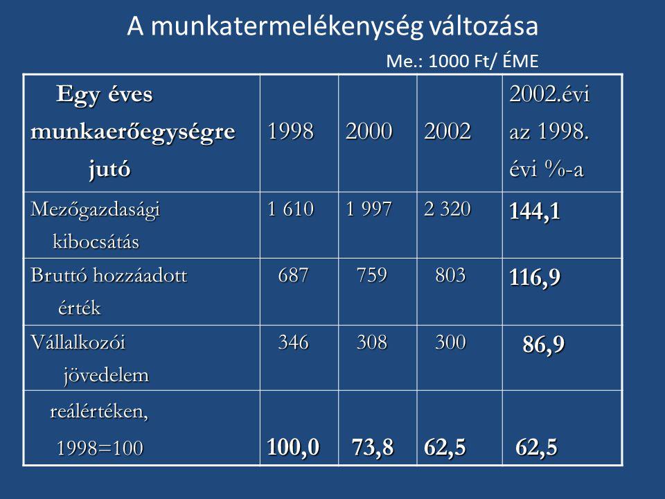 A munkatermelékenység változása Me.: 1000 Ft/ ÉME Egy éves Egy évesmunkaerőegységre jutó jutó1998200020022002.évi az 1998.