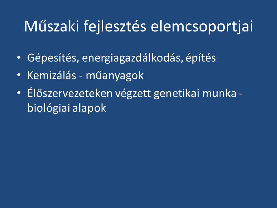 Műszaki fejlesztés elemcsoportjai Gépesítés, energiagazdálkodás, építés Kemizálás - műanyagok Élőszervezeteken végzett genetikai munka - biológiai alapok
