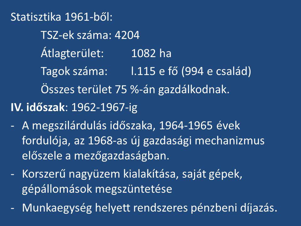 Statisztika 1961-ből: TSZ-ek száma: 4204 Átlagterület:1082 ha Tagok száma: l.115 e fő (994 e család) Összes terület 75 %-án gazdálkodnak.