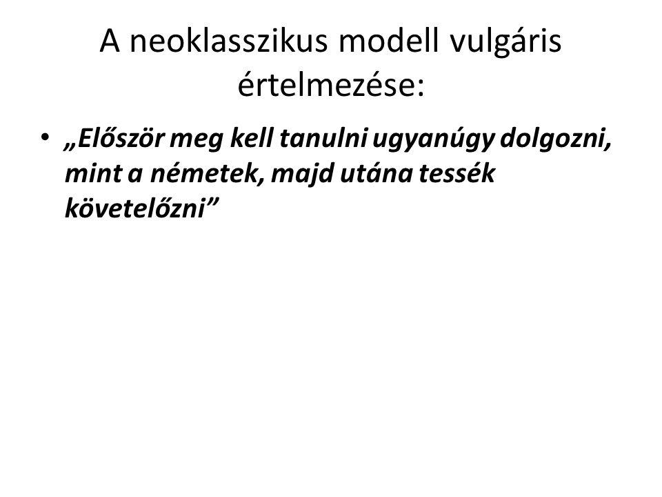 """A neoklasszikus modell vulgáris értelmezése: """"Először meg kell tanulni ugyanúgy dolgozni, mint a németek, majd utána tessék követelőzni"""""""