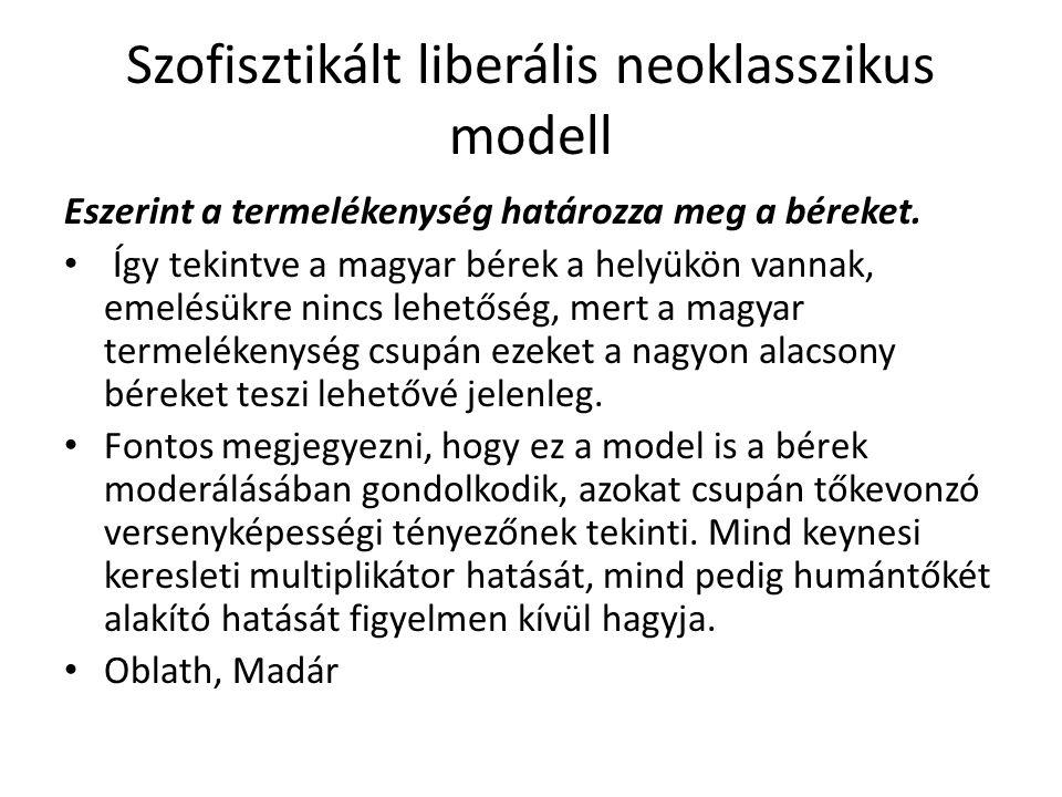 Szofisztikált liberális neoklasszikus modell Eszerint a termelékenység határozza meg a béreket. Így tekintve a magyar bérek a helyükön vannak, emelésü