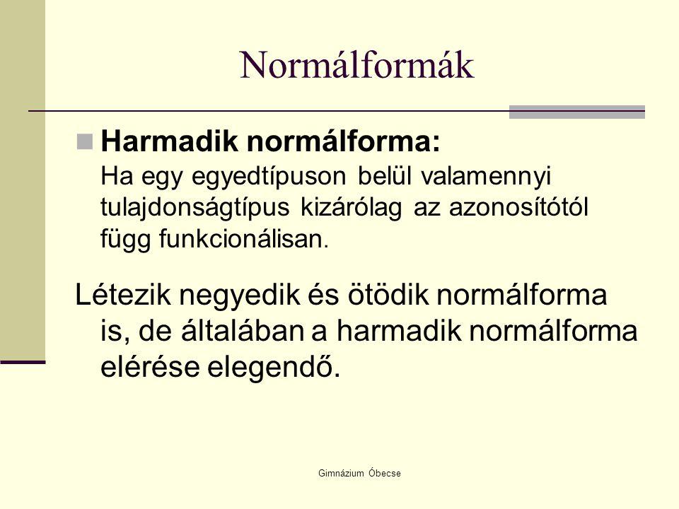 Gimnázium Óbecse Normálformák Harmadik normálforma: Ha egy egyedtípuson belül valamennyi tulajdonságtípus kizárólag az azonosítótól függ funkcionálisa