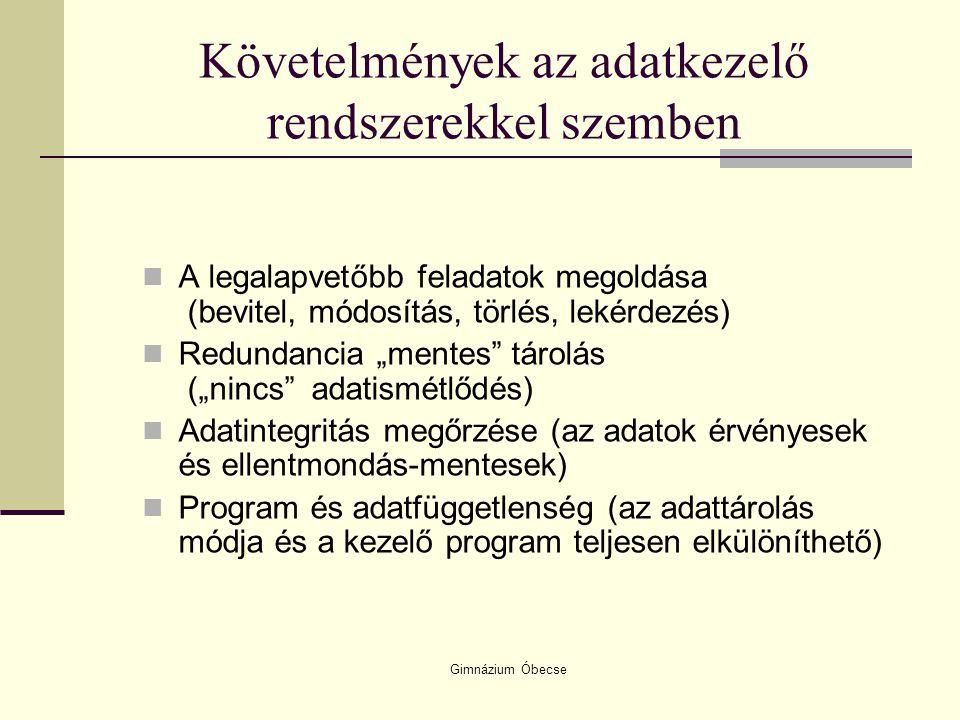 Gimnázium Óbecse Az adatbázis fogalma: Hétköznapi értelemben rendezett, valamilyen szempont szerint tárolt adatok összessége.