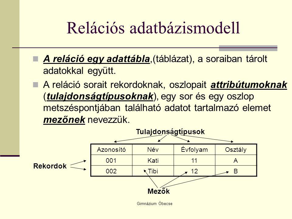 Gimnázium Óbecse Relációs adatbázismodell A reláció egy adattábla,(táblázat), a soraiban tárolt adatokkal együtt. A reláció sorait rekordoknak, oszlop