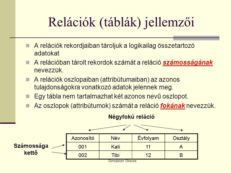 Gimnázium Óbecse Relációk (táblák) jellemzői A relációk rekordjaiban tároljuk a logikailag összetartozó adatokat A relációban tárolt rekordok számát a