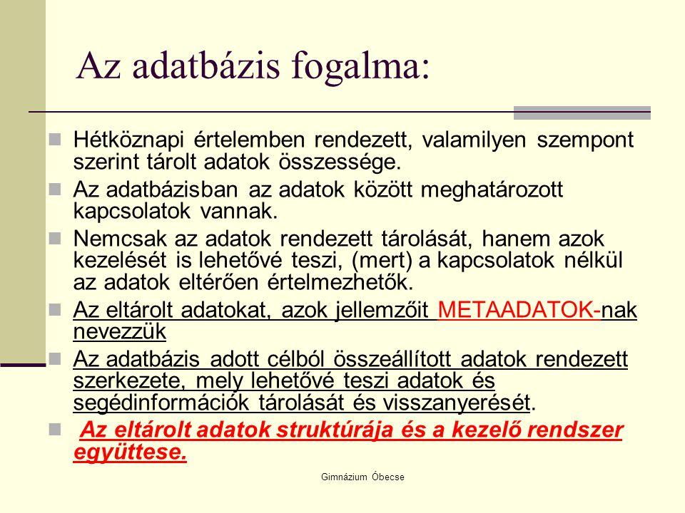 Gimnázium Óbecse Az adatbázis fogalma: Hétköznapi értelemben rendezett, valamilyen szempont szerint tárolt adatok összessége. Az adatbázisban az adato