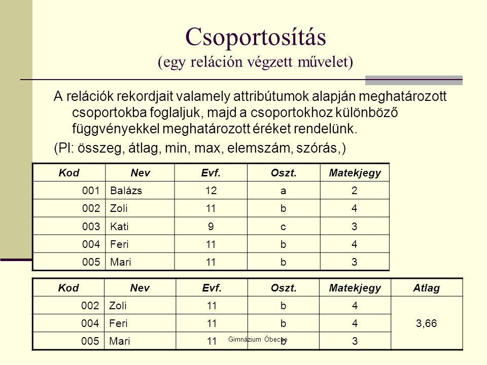 Gimnázium Óbecse Csoportosítás (egy reláción végzett művelet) A relációk rekordjait valamely attribútumok alapján meghatározott csoportokba foglaljuk,