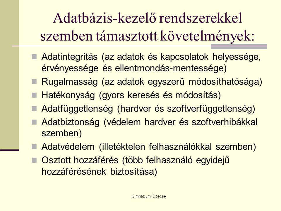 Gimnázium Óbecse Adatbázis-kezelő rendszerekkel szemben támasztott követelmények: Adatintegritás (az adatok és kapcsolatok helyessége, érvényessége és