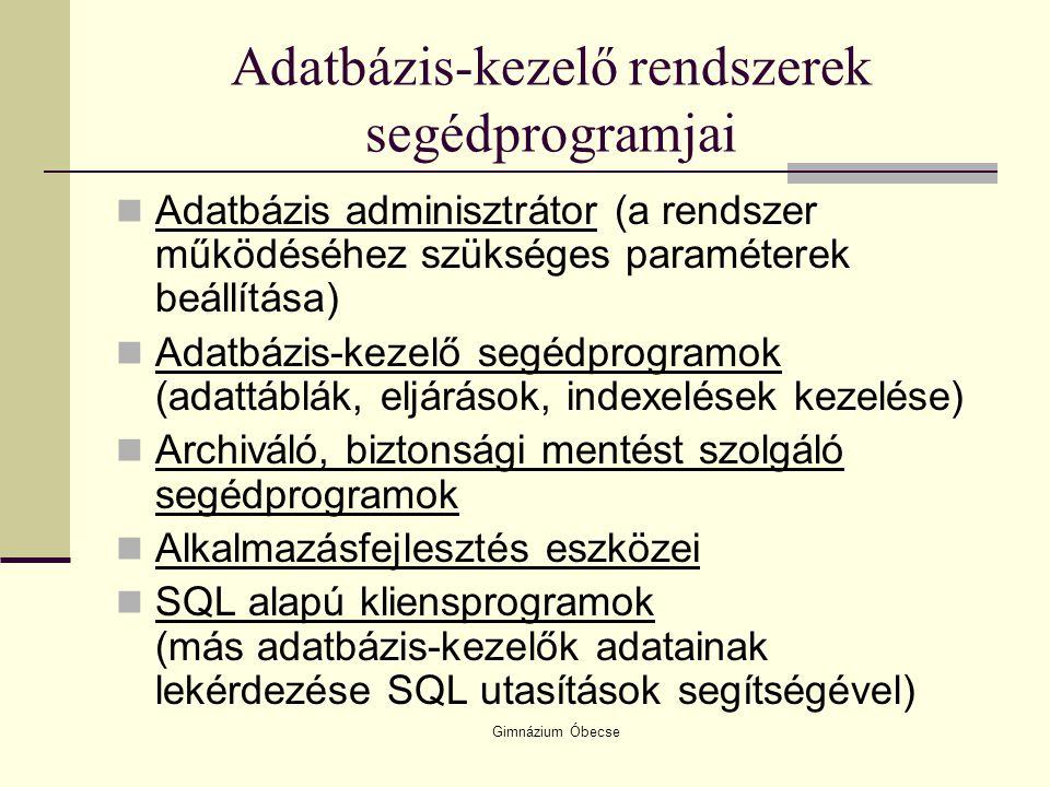 Gimnázium Óbecse Adatbázis-kezelő rendszerek segédprogramjai Adatbázis adminisztrátor (a rendszer működéséhez szükséges paraméterek beállítása) Adatbá