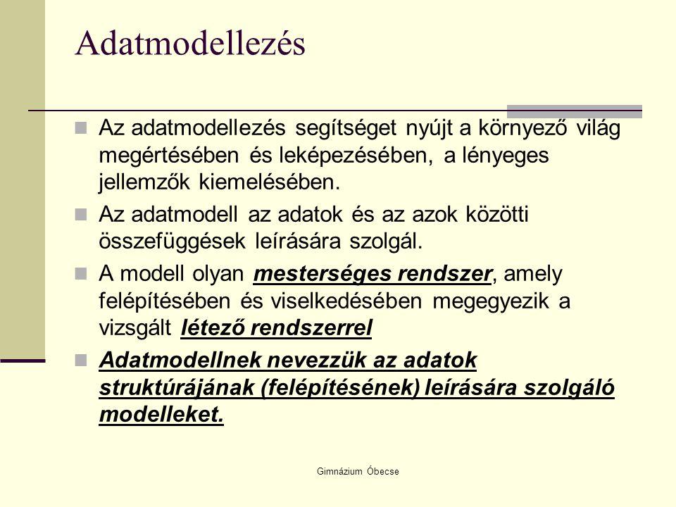 Gimnázium Óbecse Adatmodellezés Az adatmodellezés segítséget nyújt a környező világ megértésében és leképezésében, a lényeges jellemzők kiemelésében.