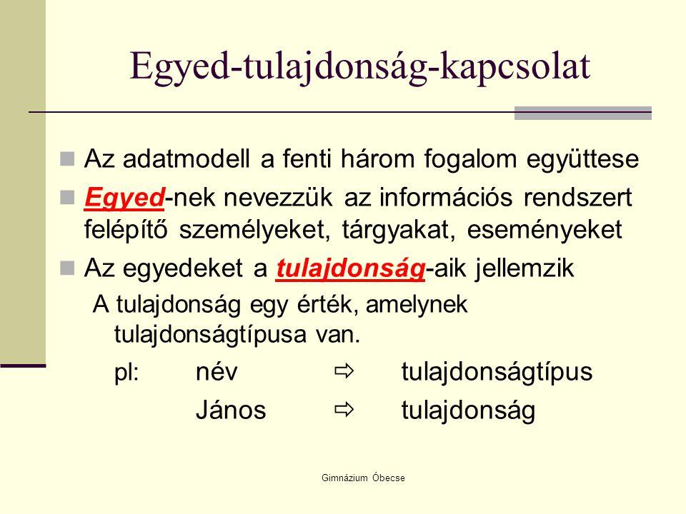 Gimnázium Óbecse Egyed-tulajdonság-kapcsolat A tulajdonság lehet:  Azonosító, mely minden egyednél különböző értéket vesz fel, az egyedek közt nem ismétlődhet pl: személyi szám (1 661215 1122)  Leíró tulajdonság, mely az egyed egy jellemzőjét írja le, több egyednél is előfordulhat pl: név (Kovács János)  Gyengén jellemző tulajdonság, mely az előzőhöz hasonló, de nem kötelező megadni (üres is lehet) pl: kedvenc sportága (úszás)  Kapcsoló tulajdonság, mely egyik egyedben leíró,a másikban azonosító funkciót tölt be  Pl: születési hely (Siófok)