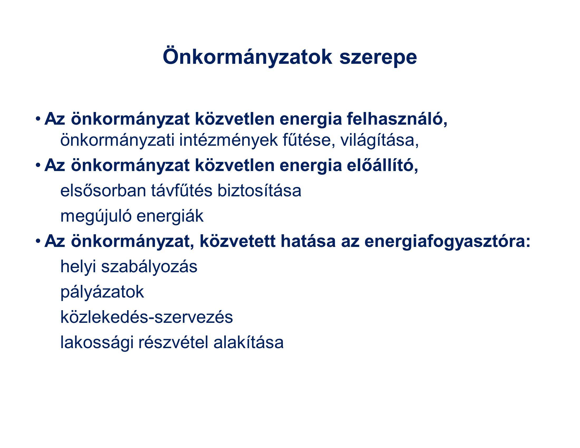 Önkormányzatok szerepe Az önkormányzat közvetlen energia felhasználó, önkormányzati intézmények fűtése, világítása, Az önkormányzat közvetlen energia