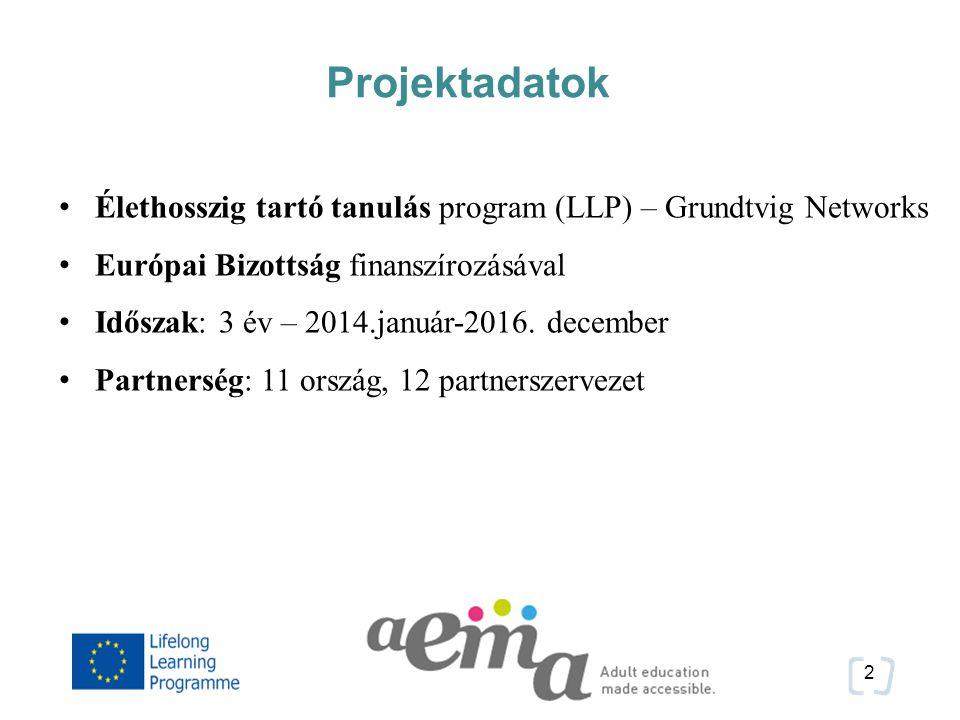 2 Projektadatok Élethosszig tartó tanulás program (LLP) – Grundtvig Networks Európai Bizottság finanszírozásával Időszak: 3 év – 2014.január-2016.