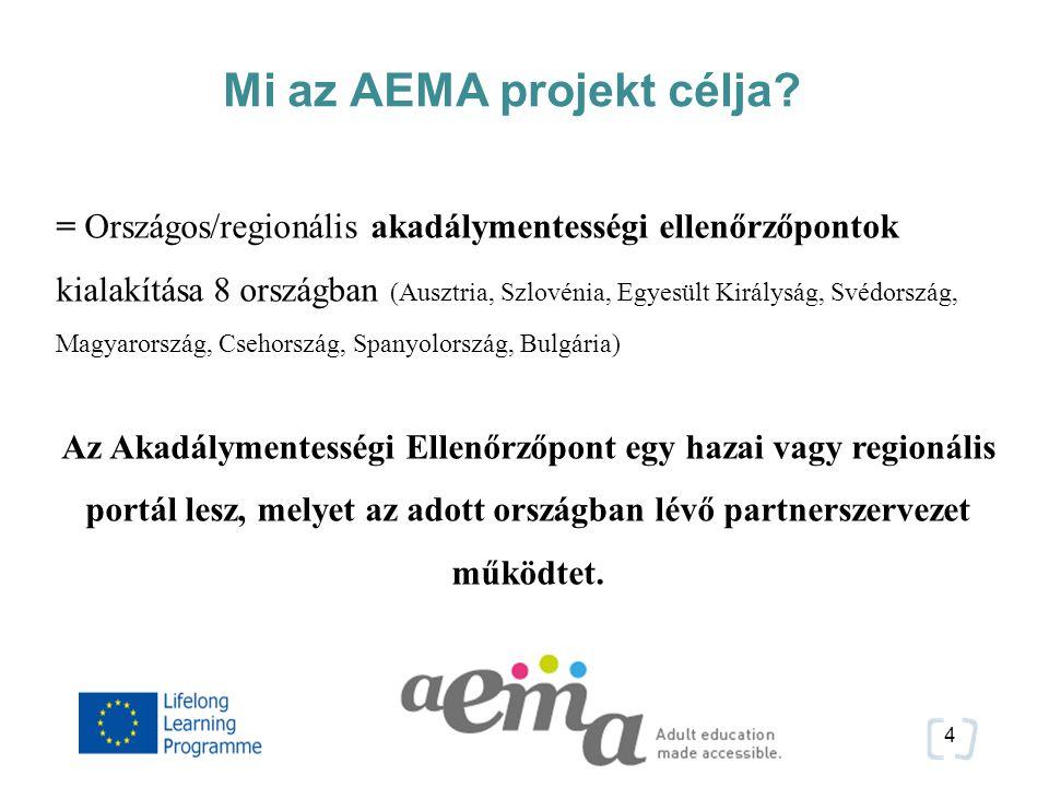 5 Az AEMA projekt célcsoportja A www.aemanet.eu portál az alábbi csoportok számára készül: Felnőttképzési szervezetek, intézmények Akadálymentességi szakemberek (Továbbfejlesztés után): Fogyatékossággal élő személyek és az őket támogató szervezetek