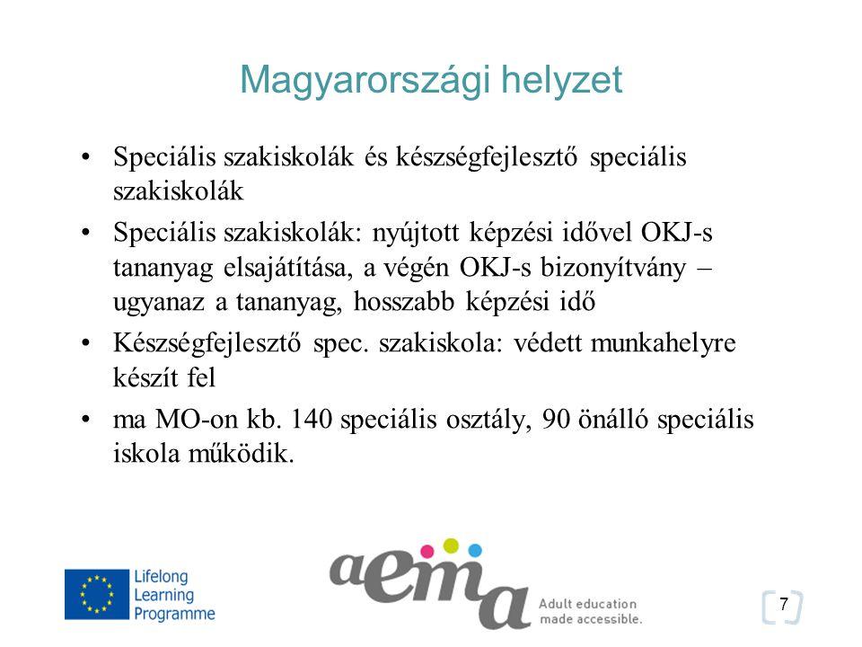 Magyarországi helyzet Speciális szakiskolák és készségfejlesztő speciális szakiskolák Speciális szakiskolák: nyújtott képzési idővel OKJ-s tananyag elsajátítása, a végén OKJ-s bizonyítvány – ugyanaz a tananyag, hosszabb képzési idő Készségfejlesztő spec.