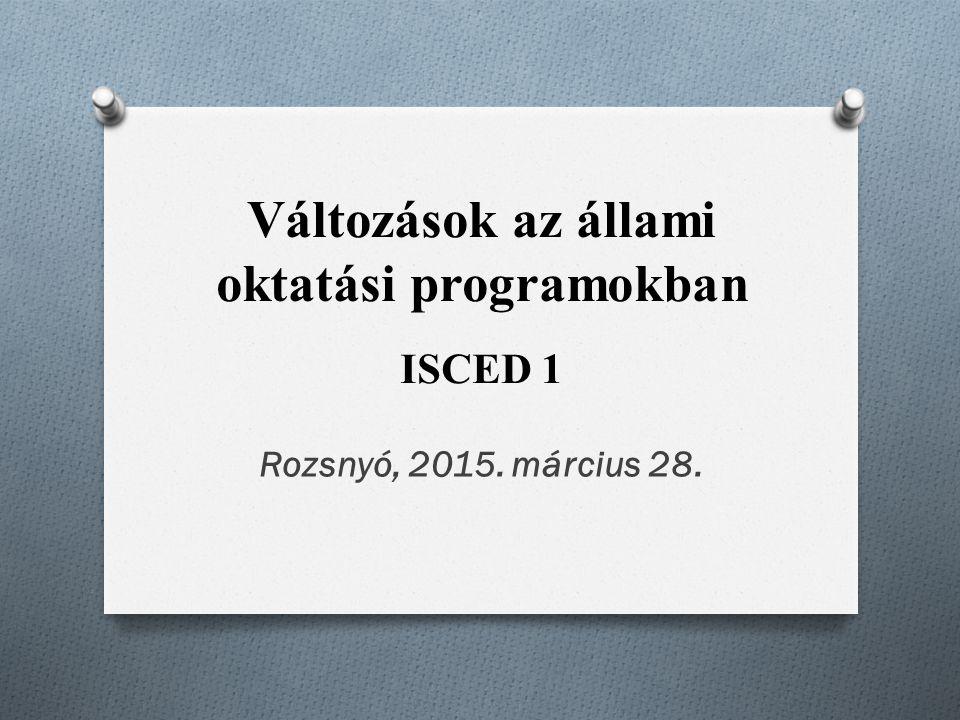 Állami Művelődési Program - tervezet- (ŠVP) TARTALMA: Az oktatás – nevelés általános céljai A képzettség foka: ISCED 1 jellemzése Abszolvensi profil – milyen kulcskompetenciával rendelkezik a 4.évf.végén a tanuló Művelődési területek és nevelési területek (prierezové t.) – részletesen lebontva Művelődési sztenderdek – röviden Kerettanterv /óraszám tervezet/ - röviden A különleges bánásmódot igénylő tanulók oktatás-nevelés feltételei – részletes Szervezési feltételek Személyi feltételek – pedagógiai alkalmazottak besorolása /vezető, ped., szakember/ Tárgyi, anyagi és tantermi követelmények Biztonság- és egészségvédelem feltételei Az új MP kidolgozásának feltételei