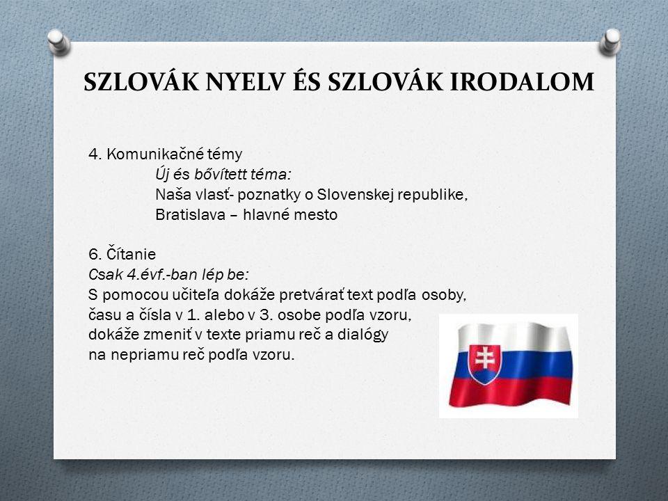 SZLOVÁK NYELV ÉS SZLOVÁK IRODALOM 4. Komunikačné témy Új és bővített téma: Naša vlasť- poznatky o Slovenskej republike, Bratislava – hlavné mesto 6. Č