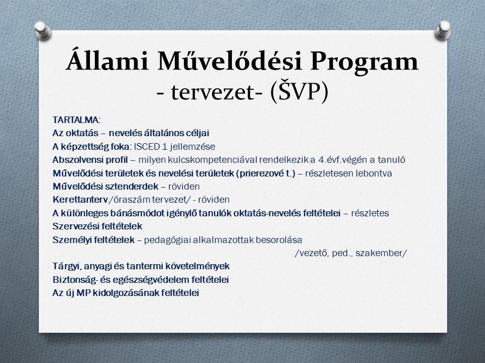 Állami Művelődési Program - tervezet- (ŠVP) TARTALMA: Az oktatás – nevelés általános céljai A képzettség foka: ISCED 1 jellemzése Abszolvensi profil –