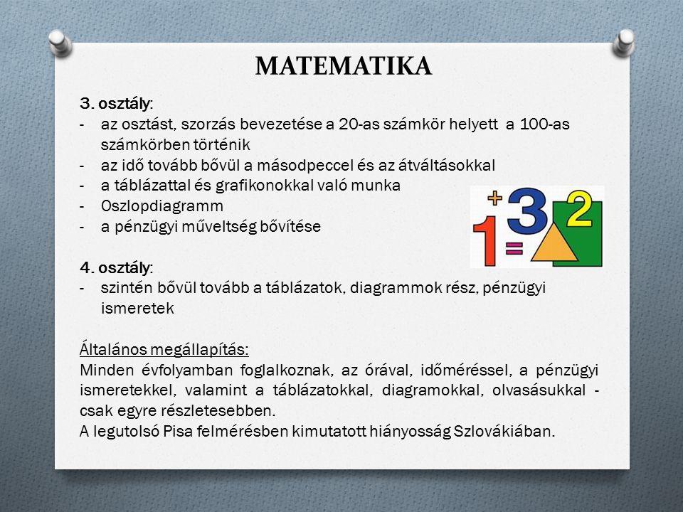MATEMATIKA 3. osztály: -az osztást, szorzás bevezetése a 20-as számkör helyett a 100-as számkörben történik -az idő tovább bővül a másodpeccel és az á