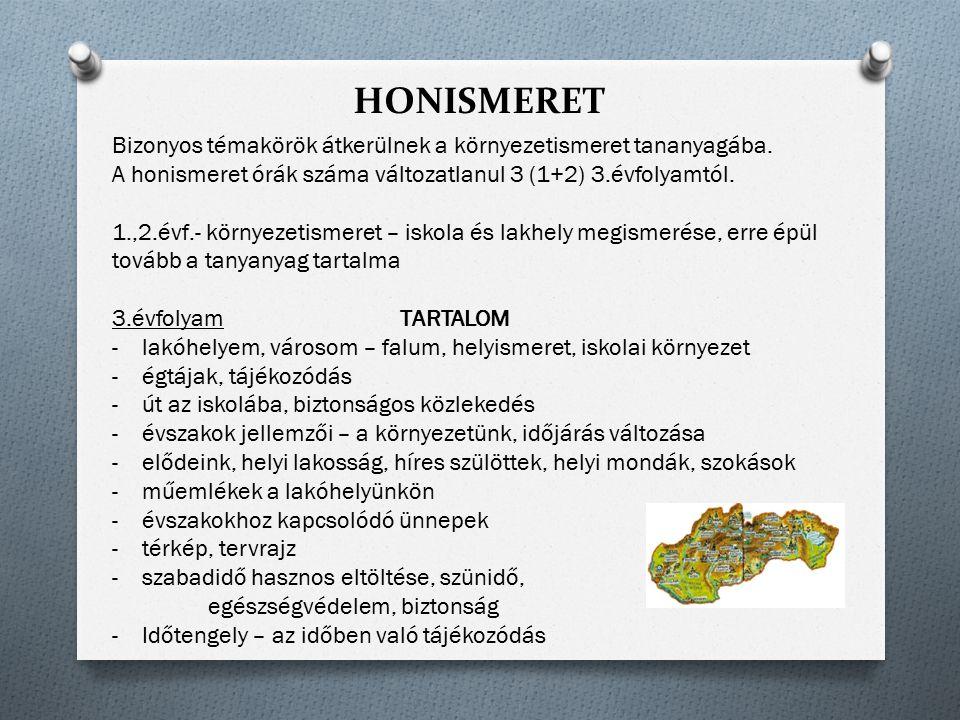 HONISMERET Bizonyos témakörök átkerülnek a környezetismeret tananyagába. A honismeret órák száma változatlanul 3 (1+2) 3.évfolyamtól. 1.,2.évf.- körny