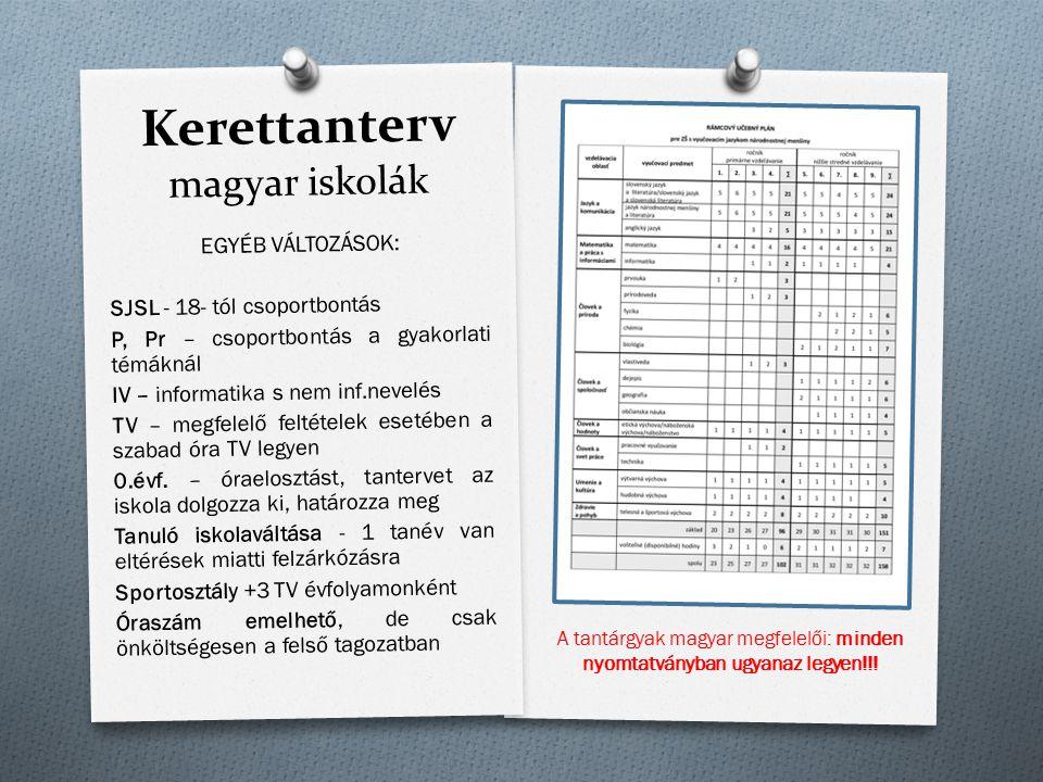 Kerettanterv magyar iskolák EGYÉB VÁLTOZÁSOK: SJSL - 18- tól csoportbontás P, Pr – csoportbontás a gyakorlati témáknál IV – informatika s nem inf.neve