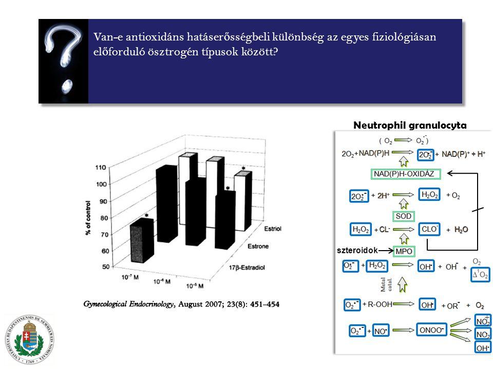 Van-e antioxidáns hatáser ő sségbeli különbség az egyes fiziológiásan el ő forduló ösztrogén típusok között.