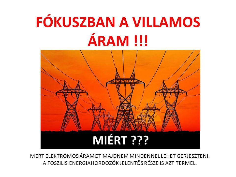 FÓKUSZBAN A VILLAMOS ÁRAM !!! MIÉRT ??? MERT ELEKTROMOS ÁRAMOT MAJDNEM MINDENNEL LEHET GERJESZTENI. A FOSZILIS ENERGIAHORDOZÓK JELENTŐS RÉSZE IS AZT T
