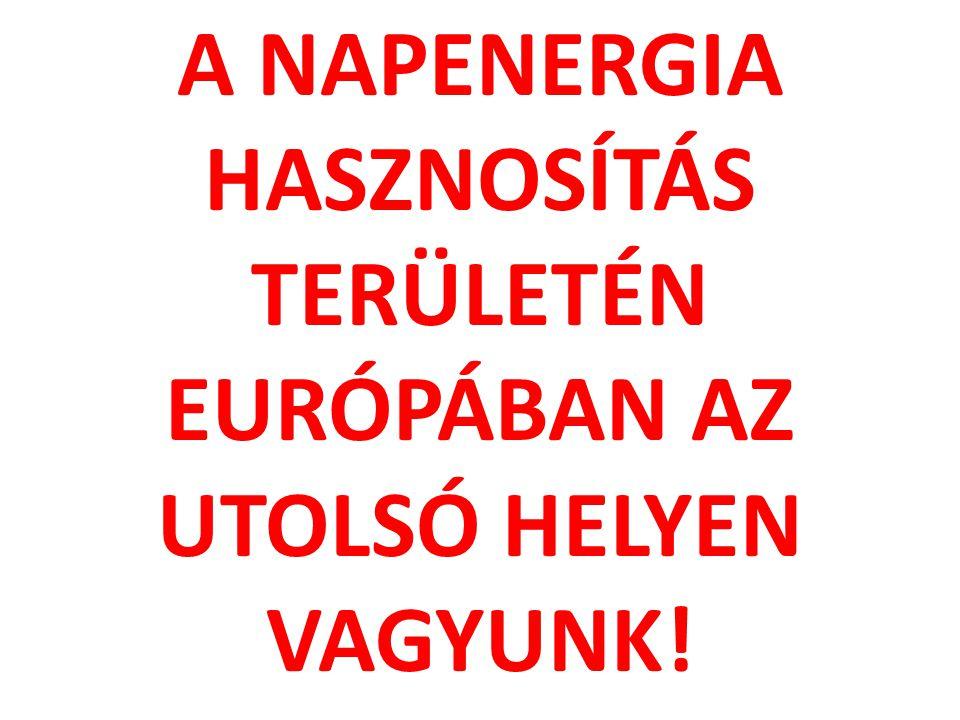 A NAPENERGIA HASZNOSÍTÁS TERÜLETÉN EURÓPÁBAN AZ UTOLSÓ HELYEN VAGYUNK!
