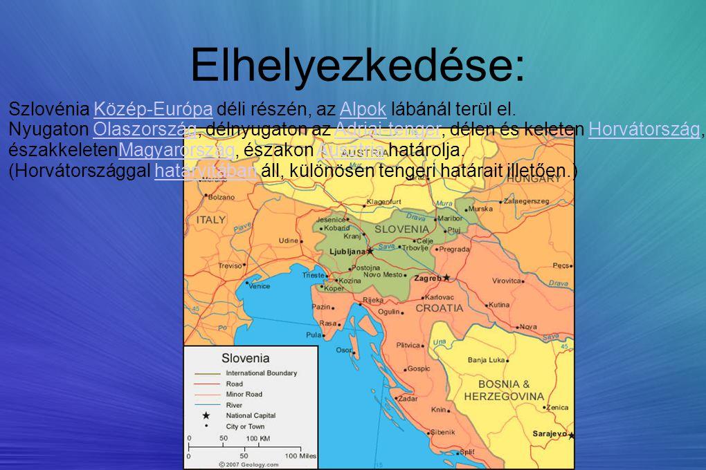 Elhelyezkedése: Szlovénia Közép-Európa déli részén, az Alpok lábánál terül el. Nyugaton Olaszország, délnyugaton az Adriai-tenger, délen és keleten Ho