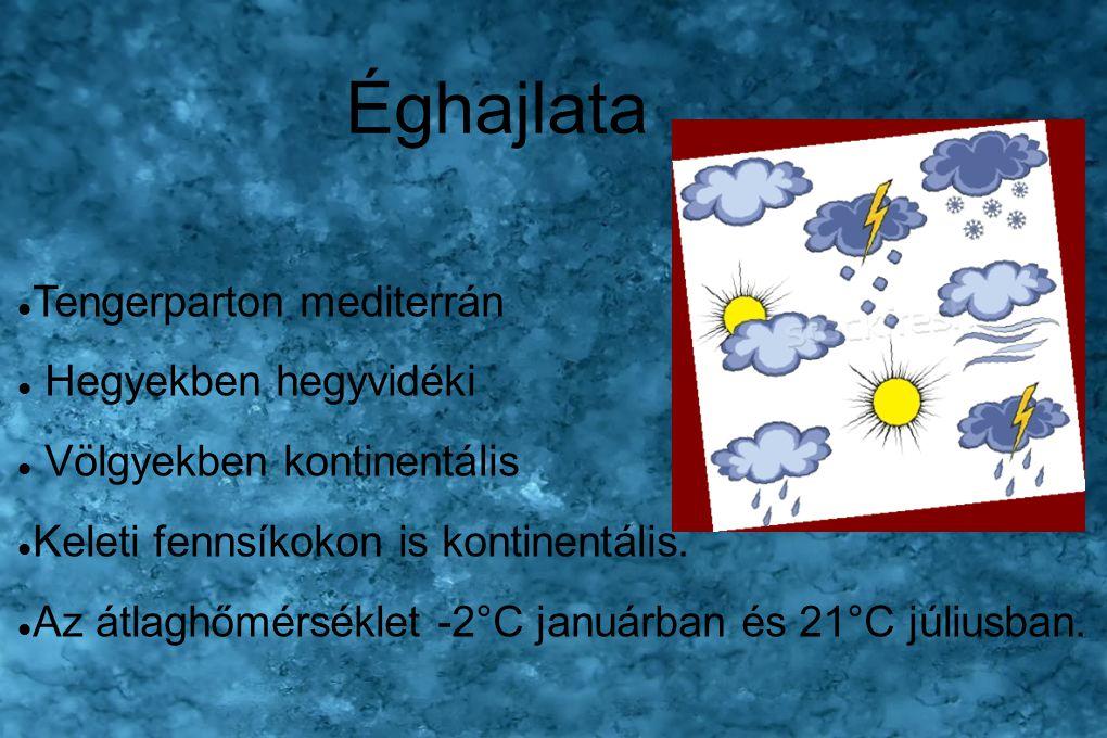 Éghajlata Tengerparton mediterrán Hegyekben hegyvidéki Völgyekben kontinentális Keleti fennsíkokon is kontinentális. Az átlaghőmérséklet -2°C januárba