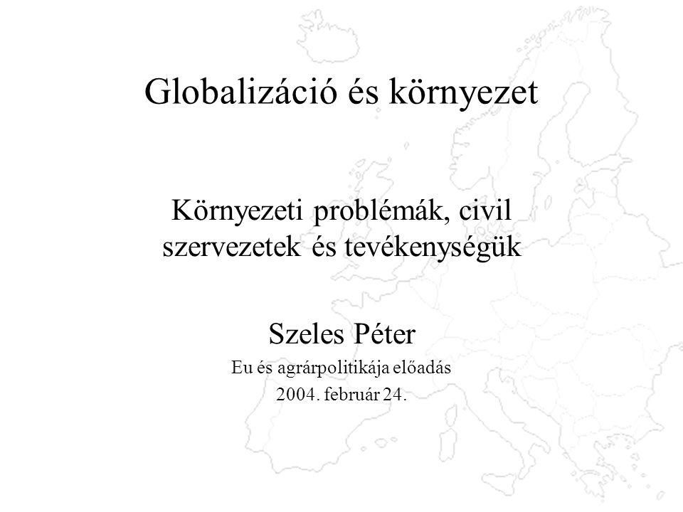 Globalizáció és környezet Környezeti problémák, civil szervezetek és tevékenységük Szeles Péter Eu és agrárpolitikája előadás 2004.