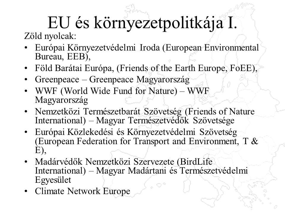 EU és környezetpolitkája I. Zöld nyolcak: Európai Környezetvédelmi Iroda (European Environmental Bureau, EEB), Föld Barátai Európa, (Friends of the Ea