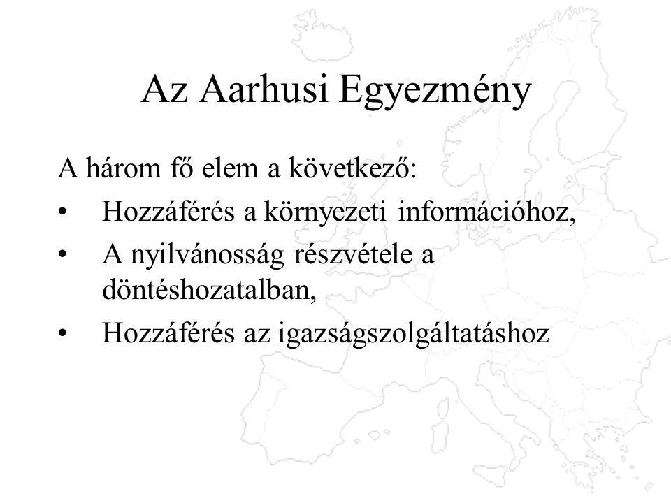 Az Aarhusi Egyezmény A három fő elem a következő: Hozzáférés a környezeti információhoz, A nyilvánosság részvétele a döntéshozatalban, Hozzáférés az i