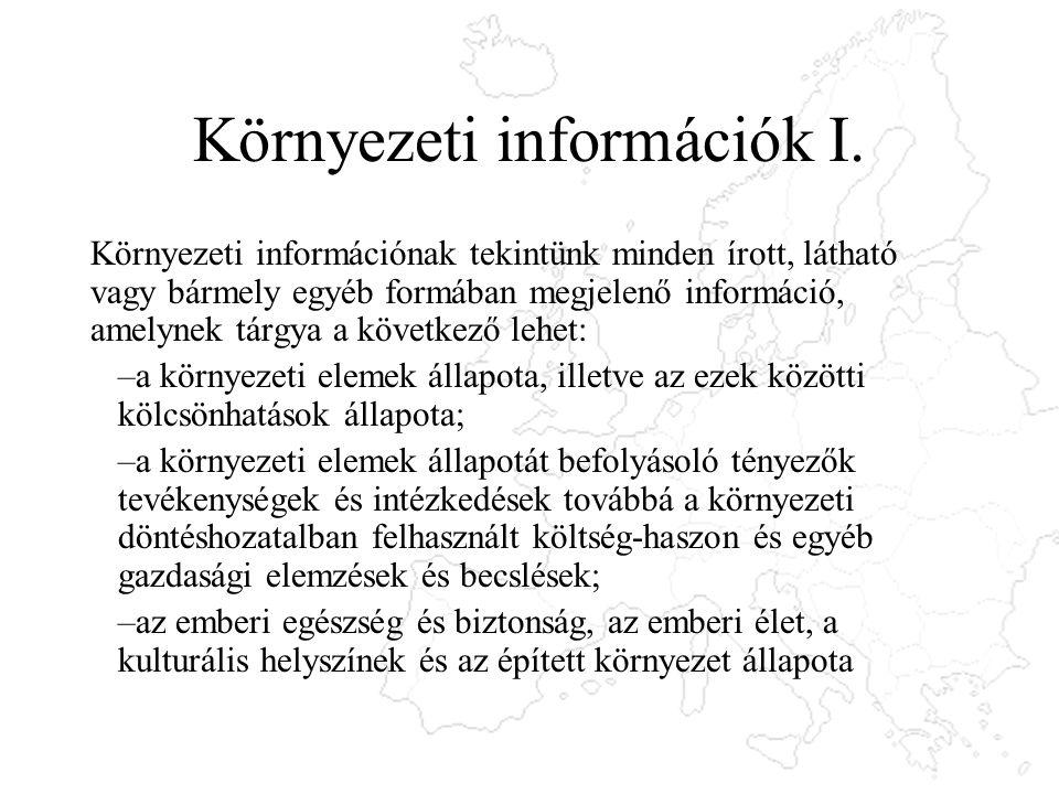 Környezeti információk I. Környezeti információnak tekintünk minden írott, látható vagy bármely egyéb formában megjelenő információ, amelynek tárgya a