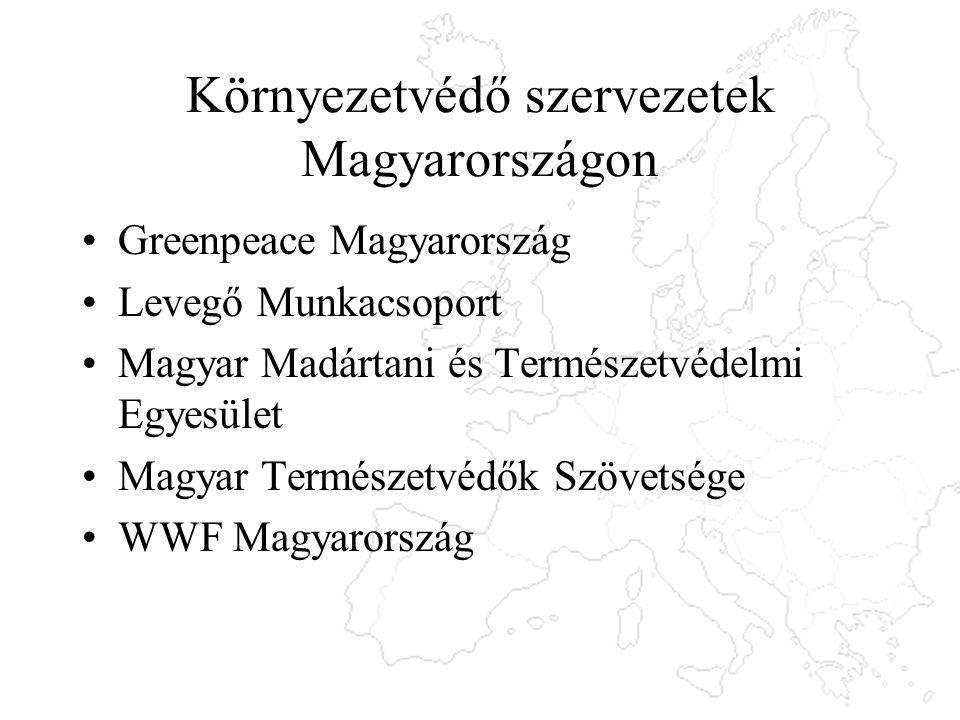 Környezetvédő szervezetek Magyarországon Greenpeace Magyarország Levegő Munkacsoport Magyar Madártani és Természetvédelmi Egyesület Magyar Természetvédők Szövetsége WWF Magyarország